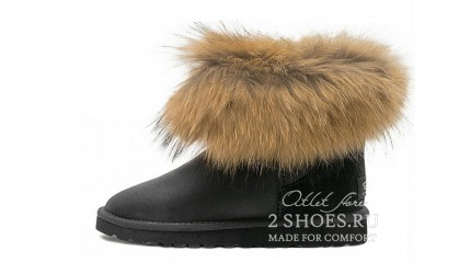 мини с мехом лисы Ugg Australia Mini Fox Fur Metallic Black