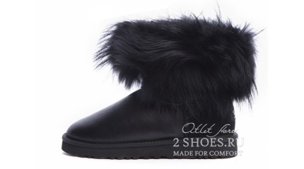 мини с мехом лисы Ugg Australia Mini Fox Fur Metallic Total Black
