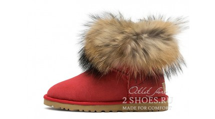 мини с мехом лисы Ugg Australia Mini Fox Fur Tomato