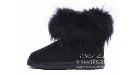 мини с мехом лисы Ugg Australia Mini Fox Fur Total Black