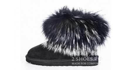 мини с мехом лисы Ugg Australia Mini Fox Fur Ultra Black