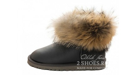 мини с мехом лисы Ugg Australia Mini Fox Fur Ultra Metallic Gray