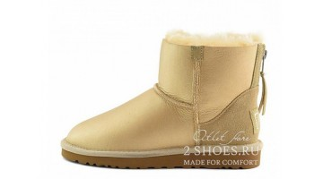 Угги женские Ugg Australia Mini Zip Metallic Soft Gold
