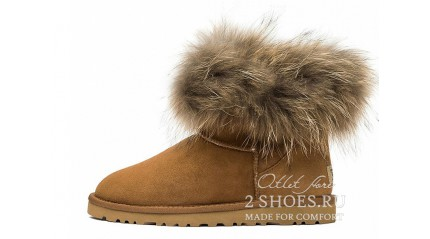 мини с мехом лисы Ugg Australia Mini Fox Fur Chestnut