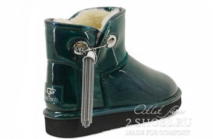 Мини джимми чу Ugg Australia Jimmy Choo Mini L&C Green зеленые кожаные, фото 3