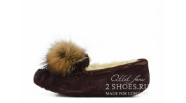 Мокасины Ugg Australia Mocassins Dakota Pom Pom Chocolate коричневые