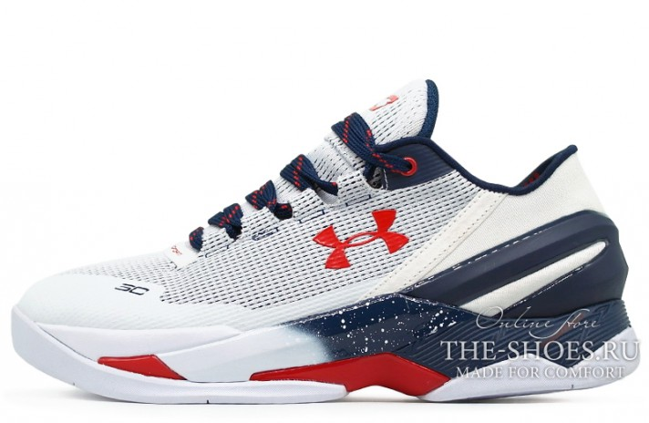 Under Armour Curry 2 Low USA White Blue Red белые