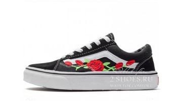 Кеды женские Vans Old Skool Roses Black White