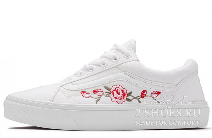 Vans Old Skool Roses White белые